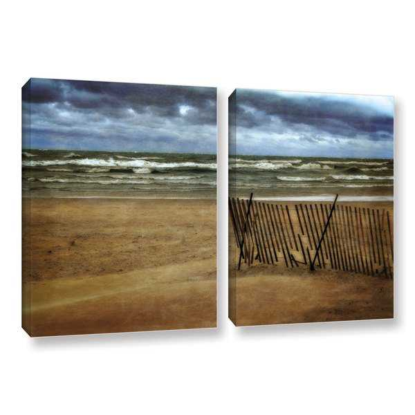 ArtWall Kevin Calkins ' Snow Fence And Waves 2 Piece ' Gallery-Wrapped Canvas Set - Multi