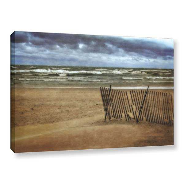 ArtWall Kevin Calkins ' Snow Fence And Waves ' Gallery-Wrapped Canvas - Multi