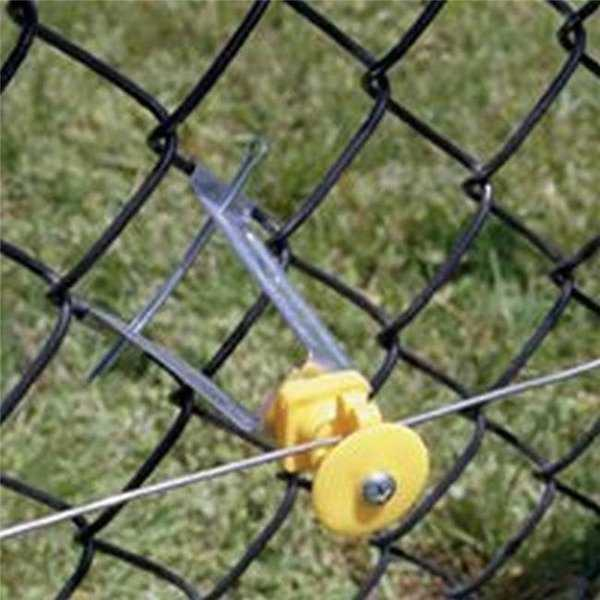 6 in. Chain Link Insulator for Use with Electric Fence - Yellow